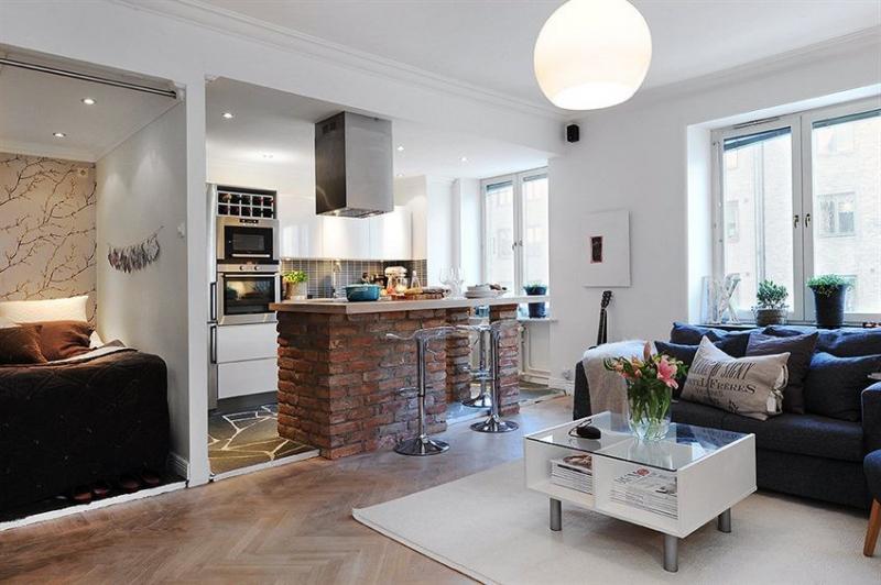 Возможно ли из кухни сделать спальню в однокомнатной комнате (фото)