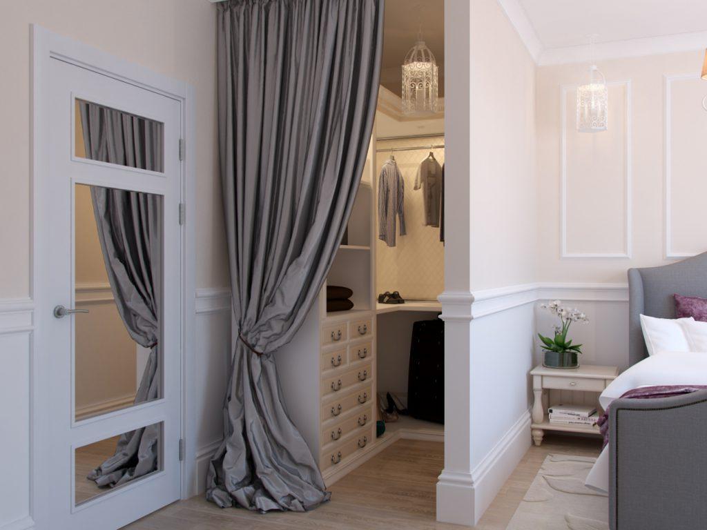 гардеробная за шторой