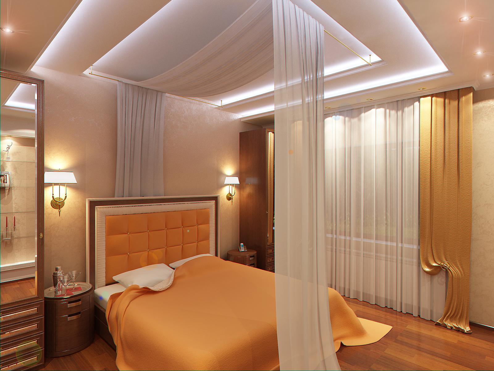 Дизайн комбинированных потолков в спальне
