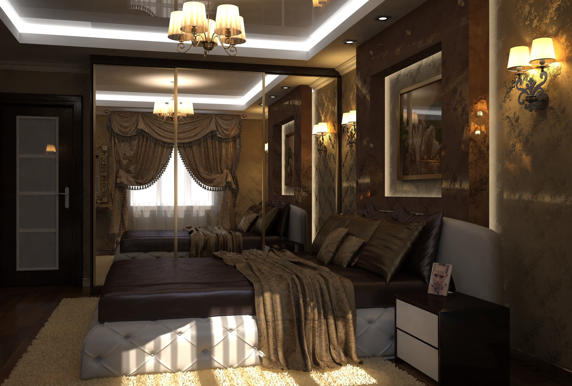 Дизайн люстры в 12 м спальне