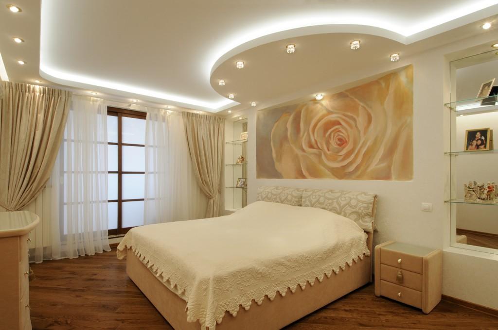 Дизайн потолка из гипсокартона в спальне фото