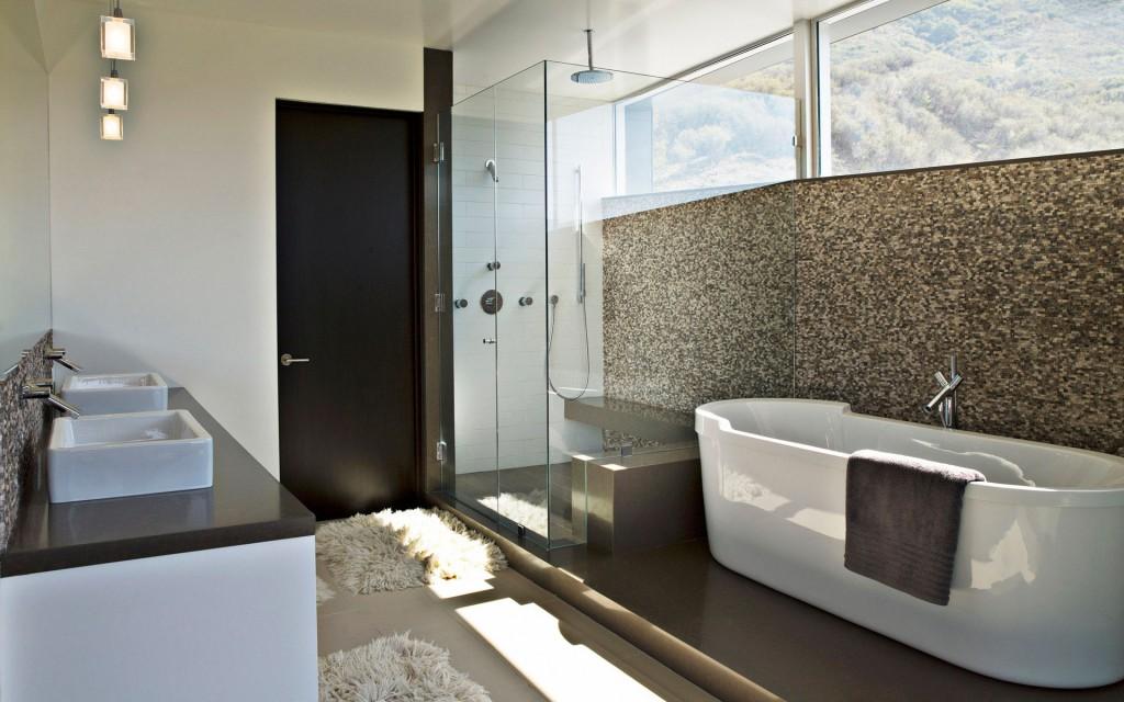 дизайн ванной в облицовке кафелем