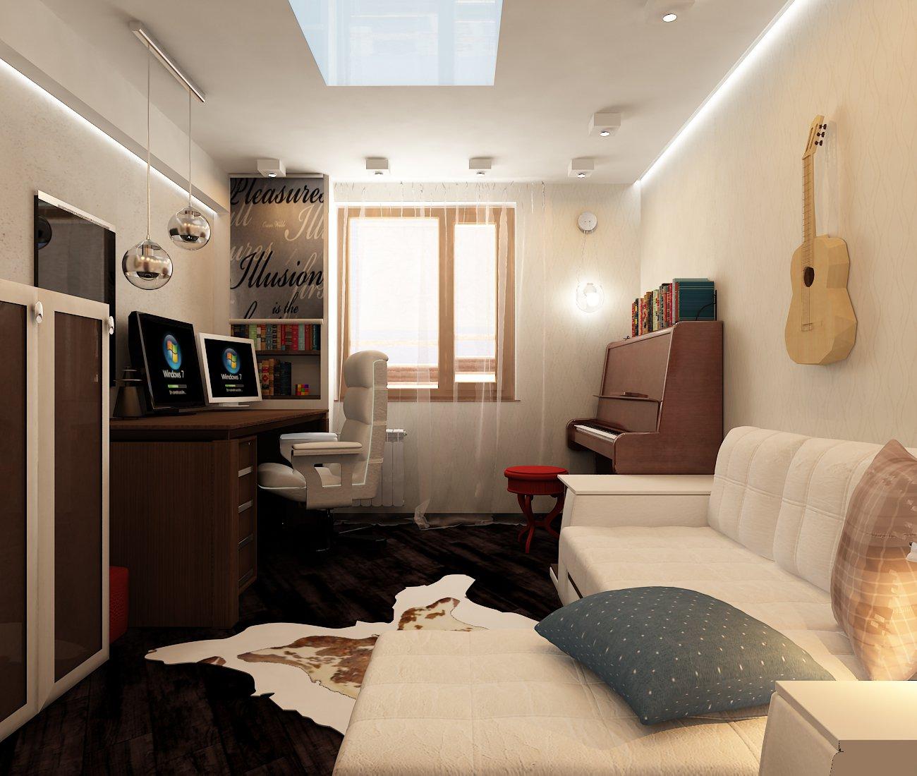 Спальня с кабинетом 18 кв м дизайн