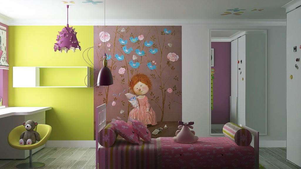 Фото дизайна стен в детских комнатах
