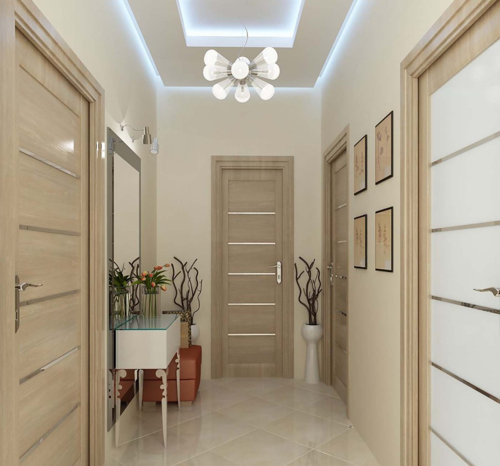 Дизайн коридора со светлыми дверями фото
