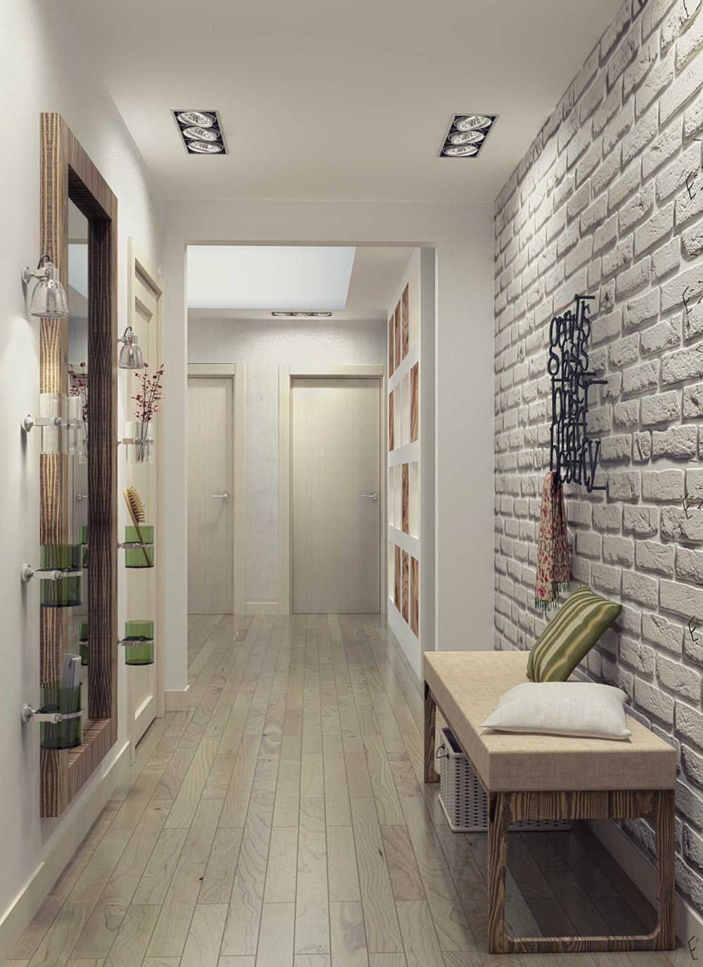 Дизайн коридора в кирпичей