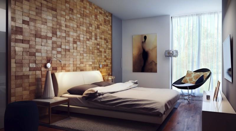 Интерьеры спальни с отделкой деревом