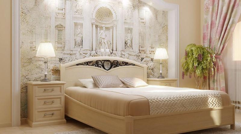 Фрески в современном интерьере спальни.