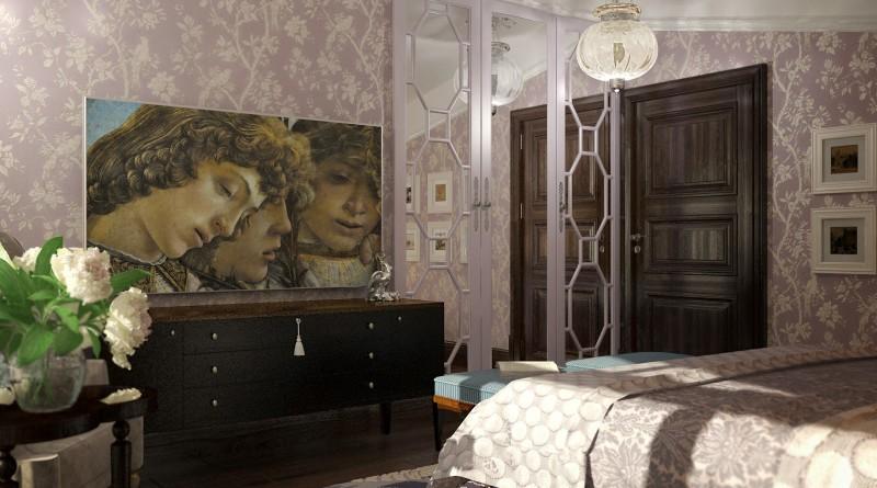 Картина большого размера в спальне