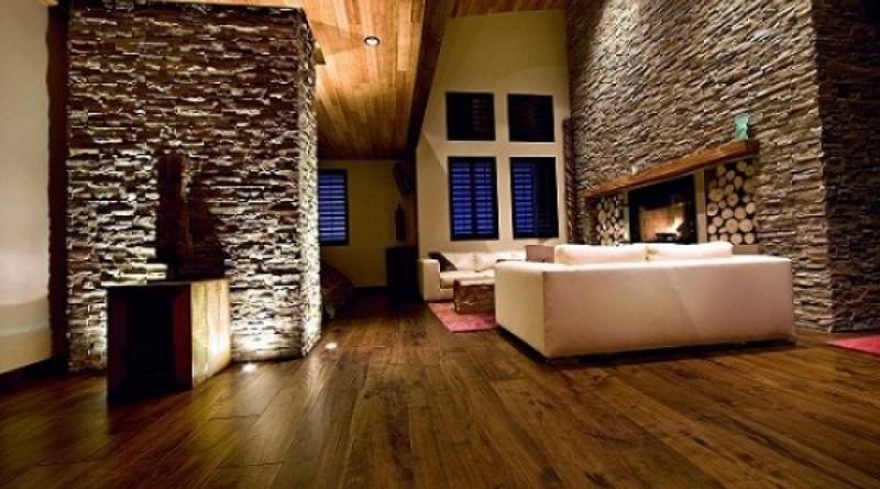 Ванная комната с каменной кладкой