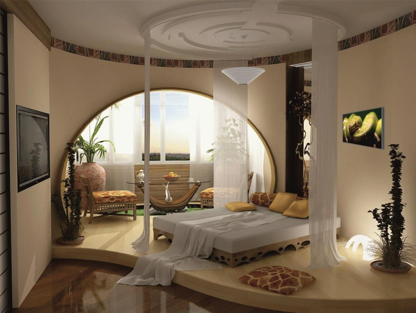 Оформление текстилем комнаты спальни комната с балконом.
