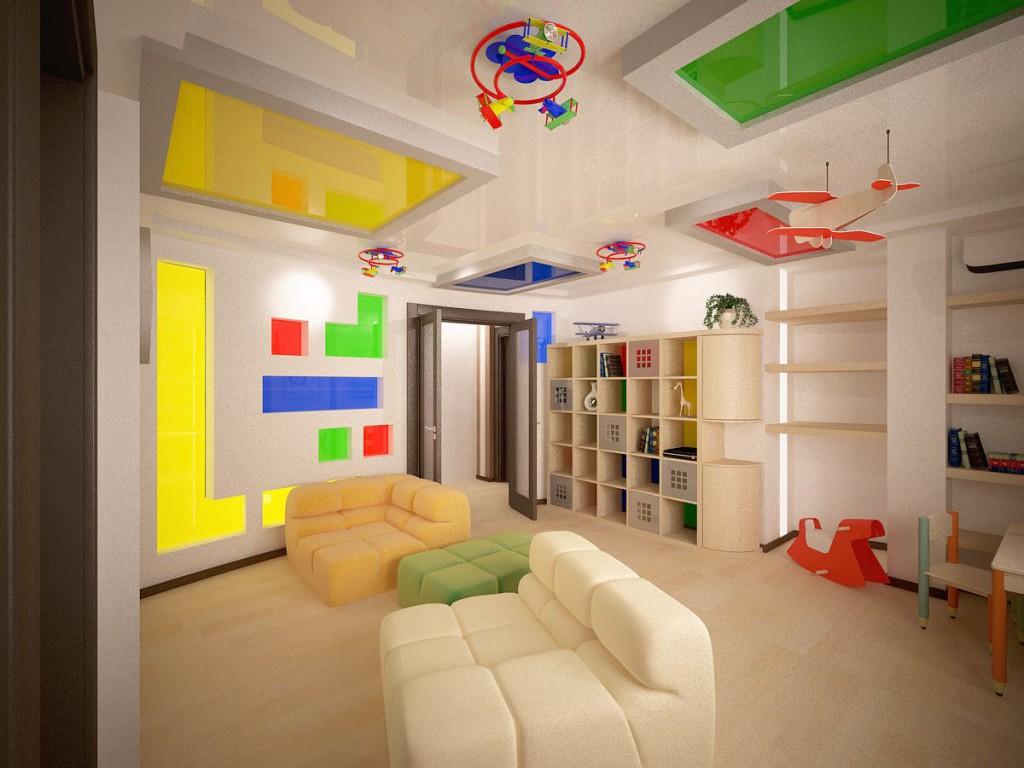 Дизайн натяжных потолков для детской комнаты