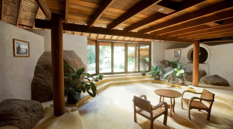 дизайн гостиной с отделкой камнем и деревом