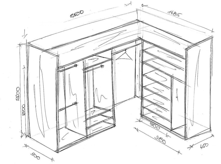 Г-образная гардеробная схема с размерами