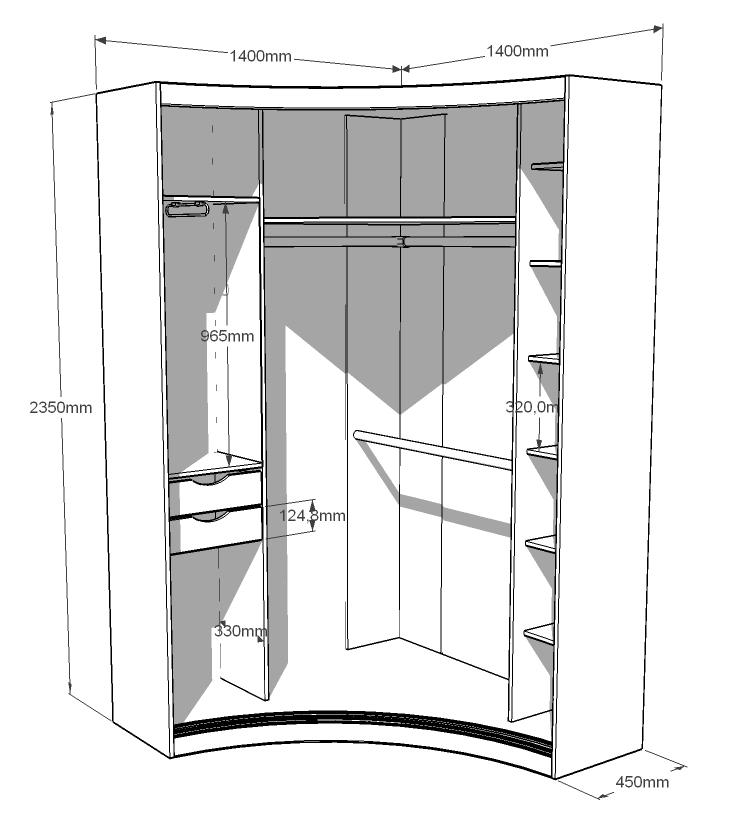 Угловая гардеробная схема с размерами
