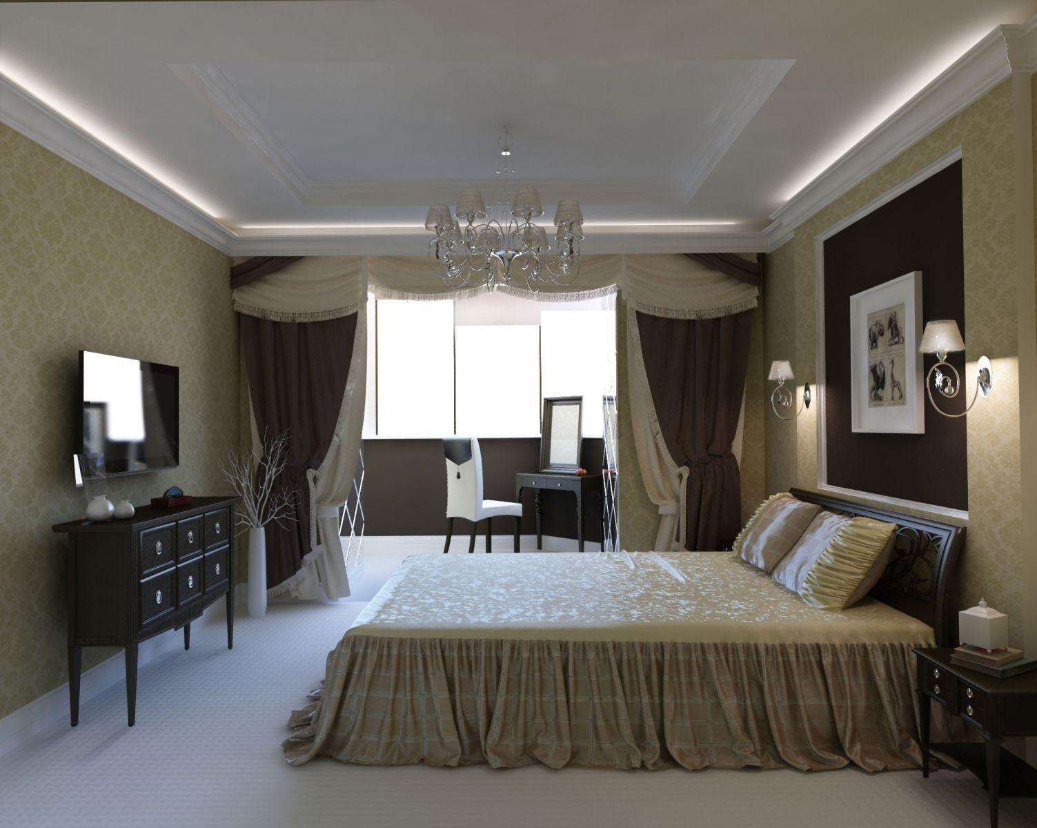 Дизайн спальни с переделанным под кабинет балконом. - цена н.