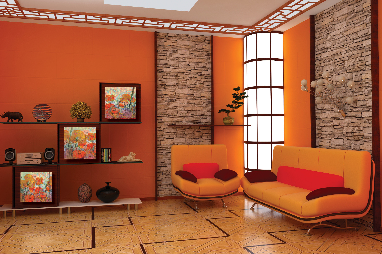 Интерьер в оранжевых тонах фото
