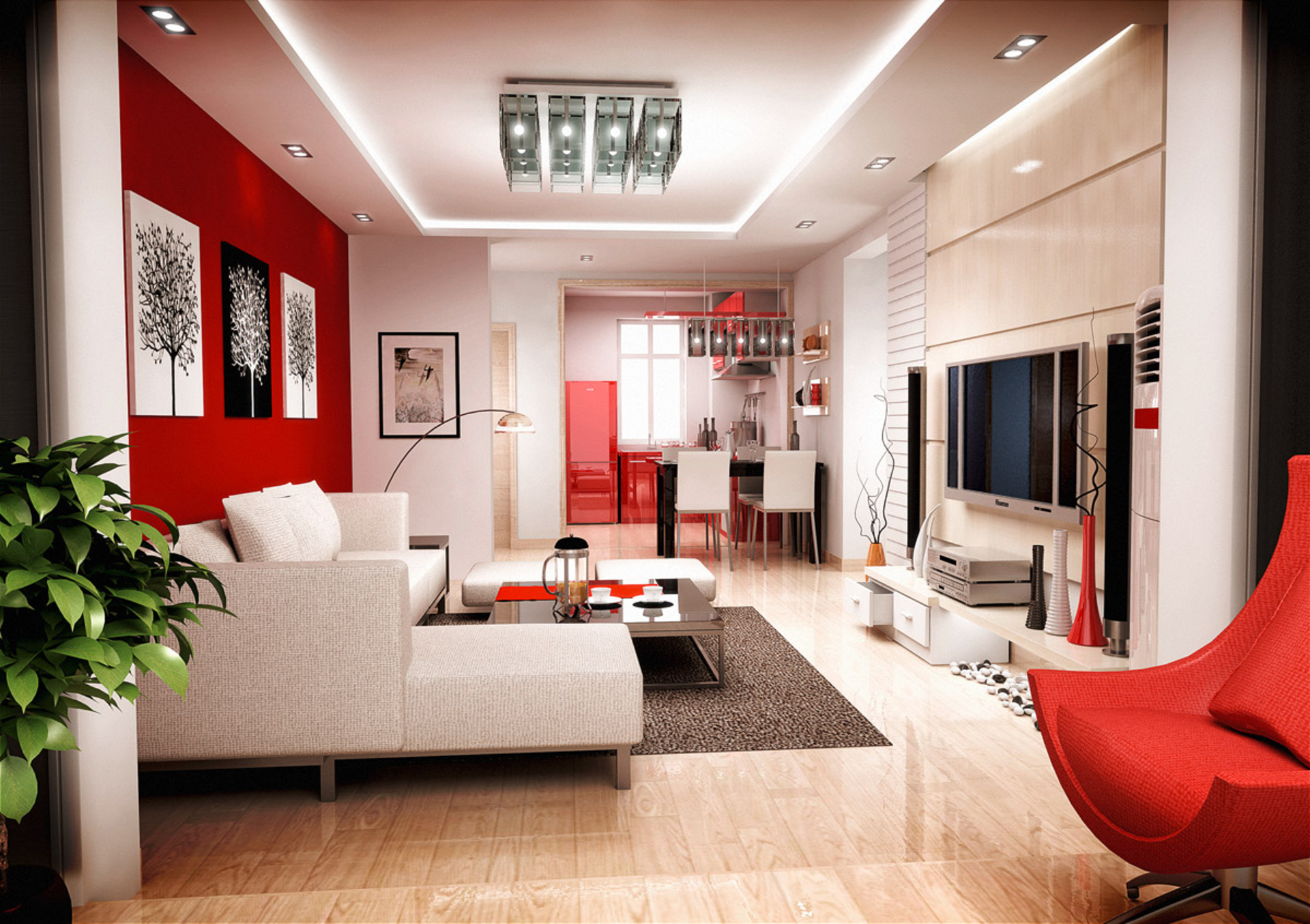 Красно белый интерьер фото