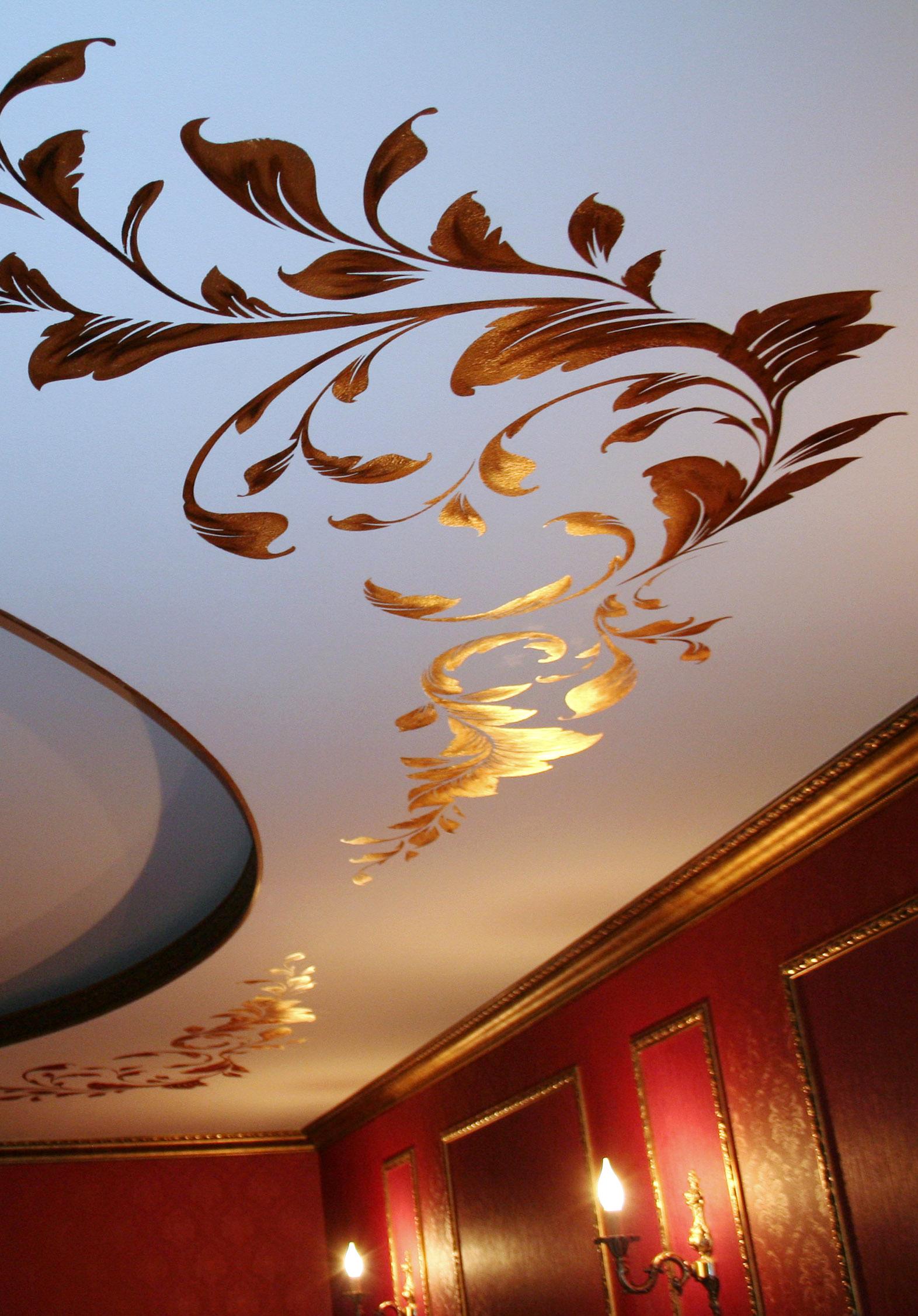 Как сделать рисунок на потолке своими руками 59