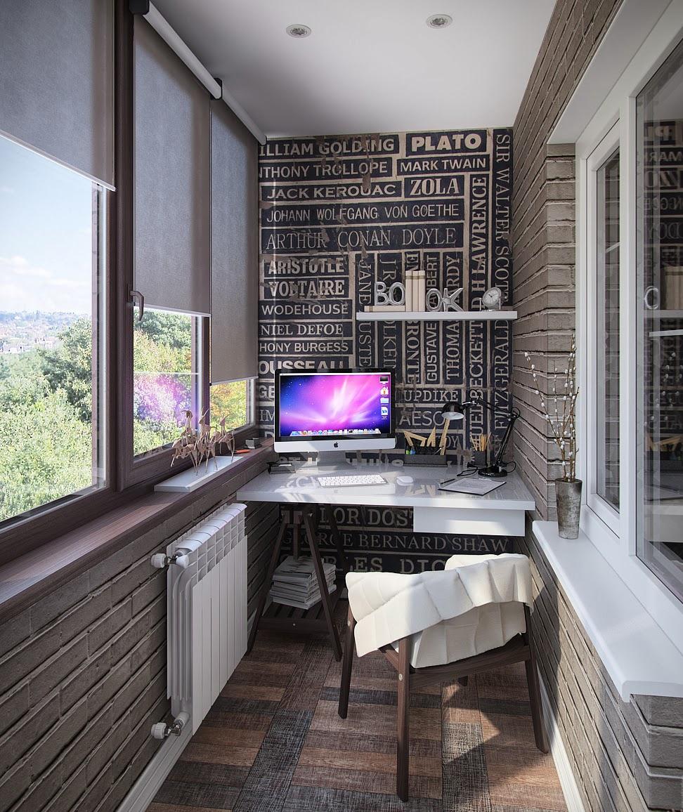 Дизайн кабинетов на балконе