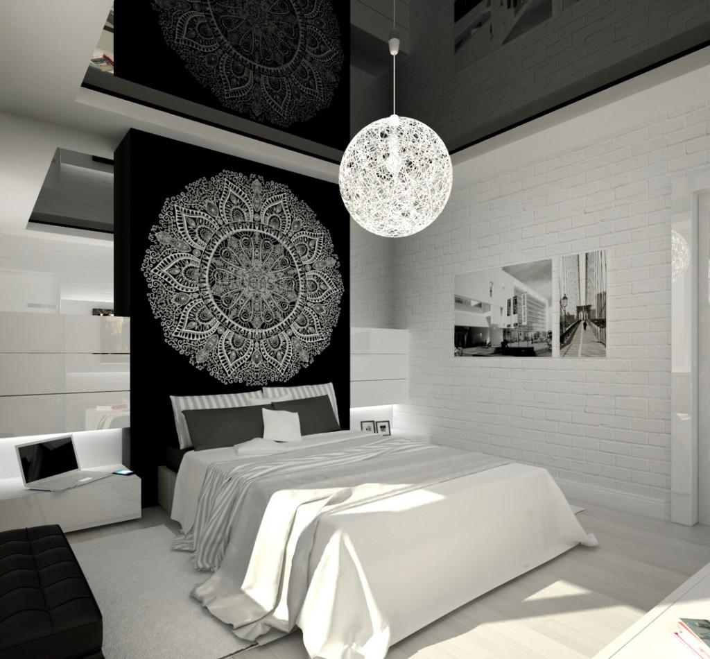 Черно белый интерьер спальни фото