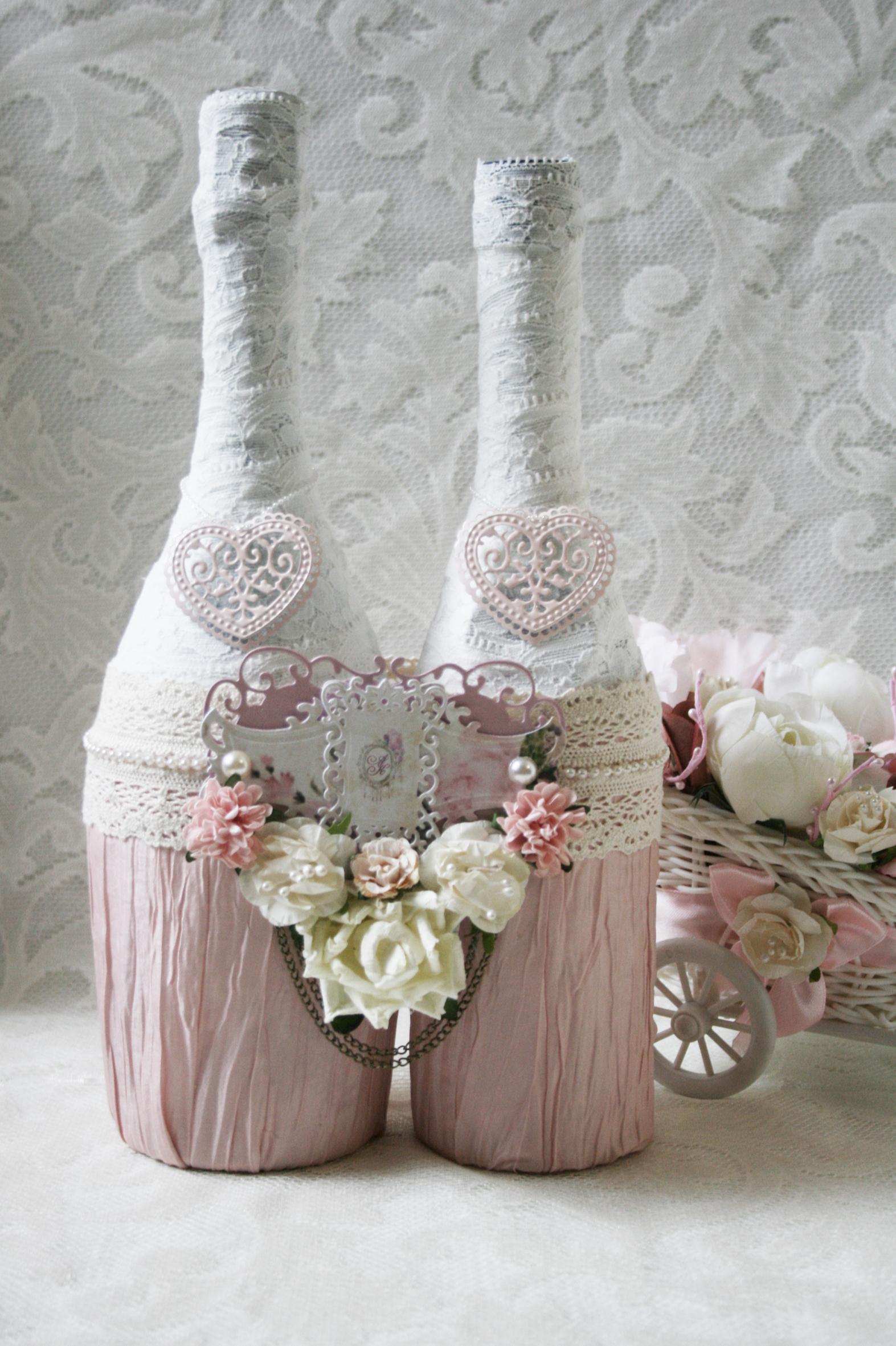 Украшение свадебных бутылок своими руками фото