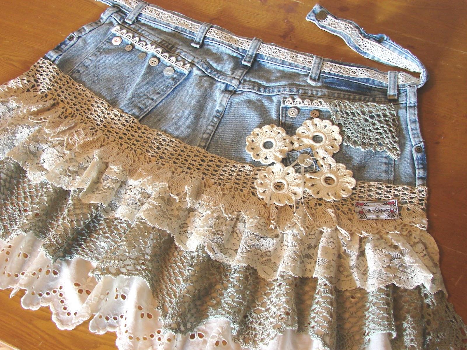 Сшить юбку из старой джинсовой юбки 598