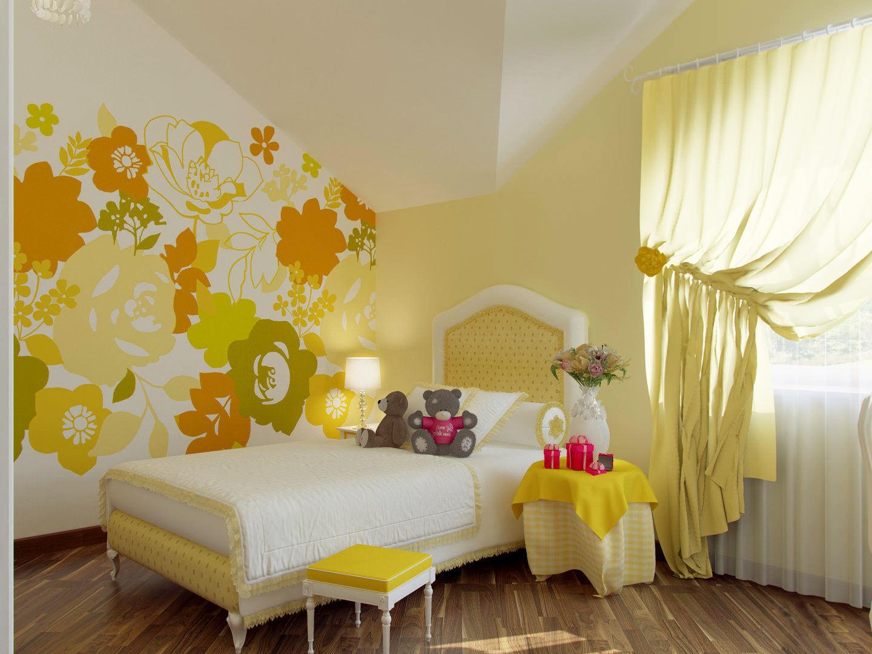 Комната в желтых тонах фото