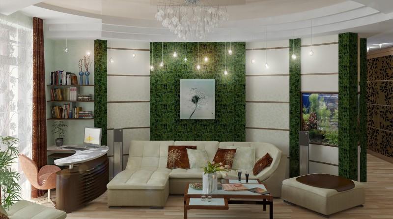зеленый интерьер квартир