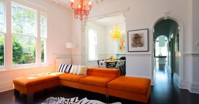 оранжевый цвет в интерьере