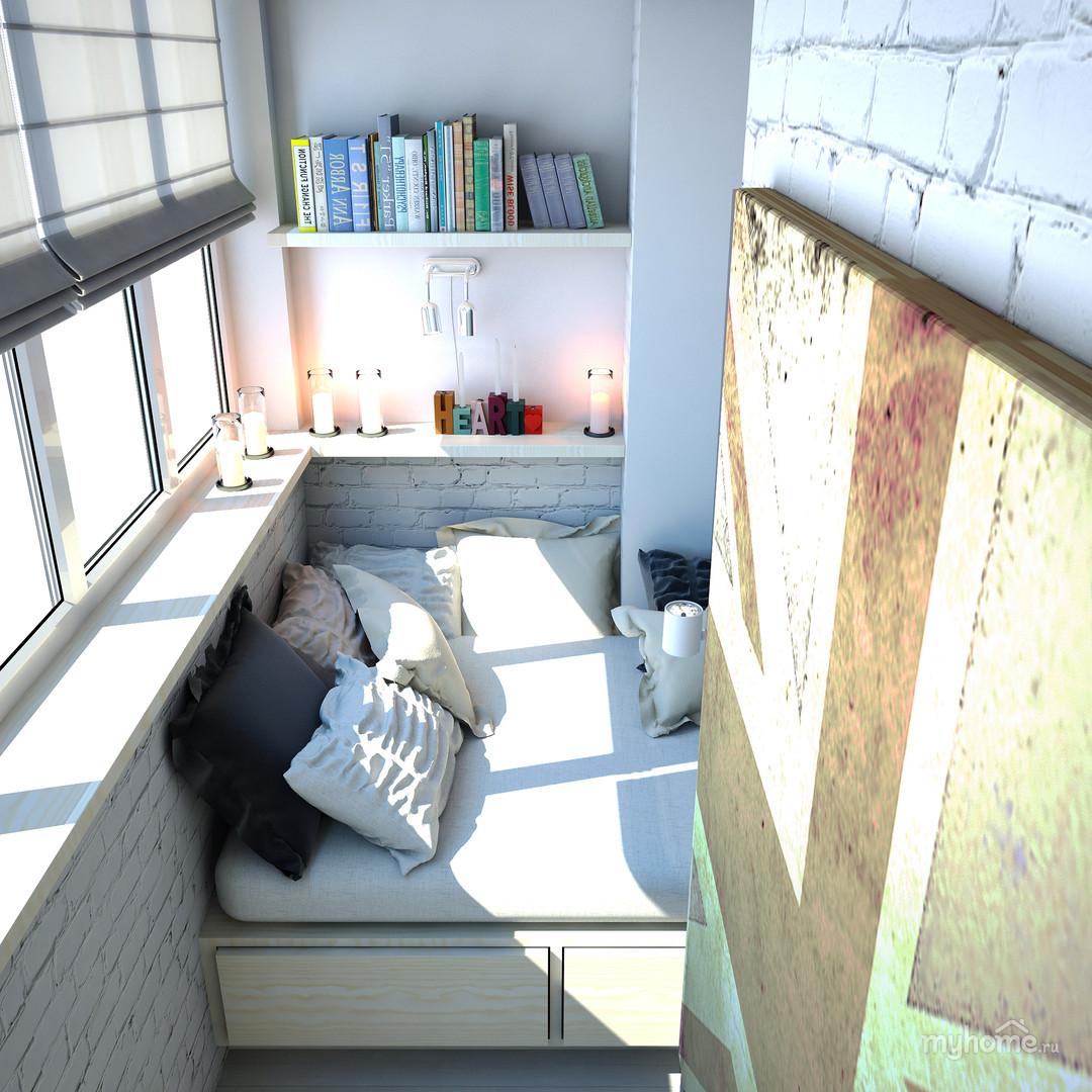 Спальное место на балконе фото..