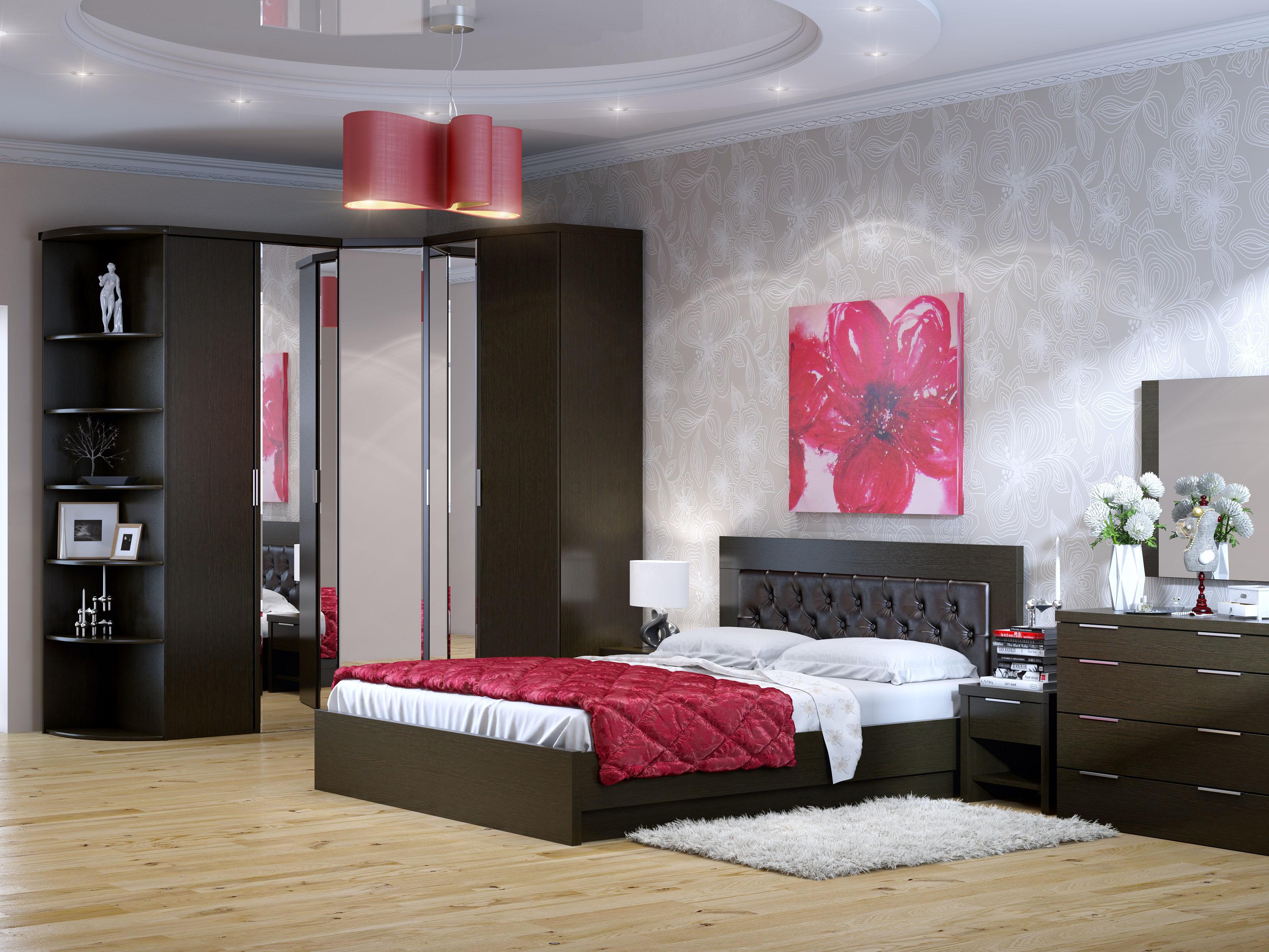 Дизайн спальни в цвете венге фото
