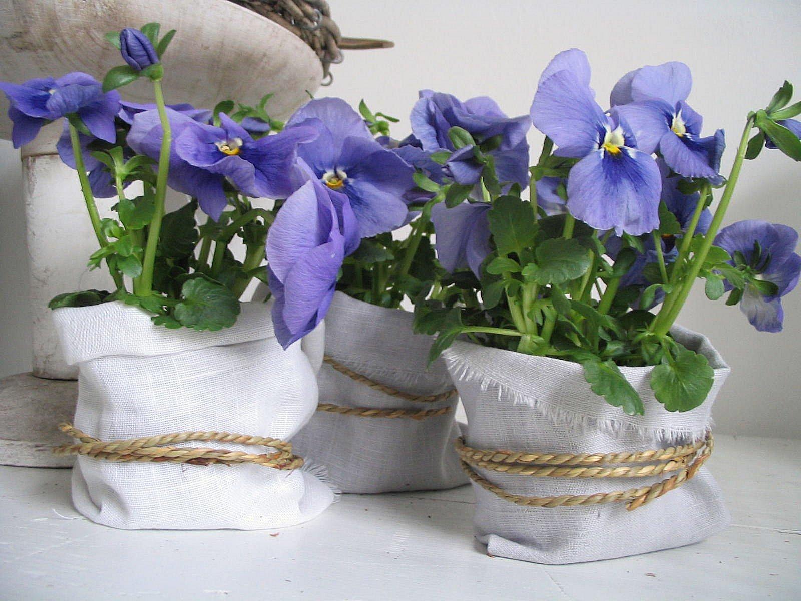 Декор цветы в горшке своими руками фото