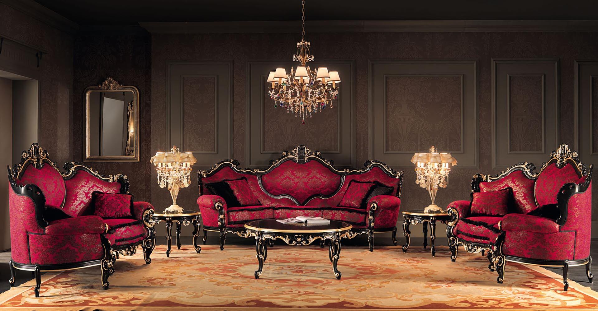 стиль барокко спальни в цвете красное вино