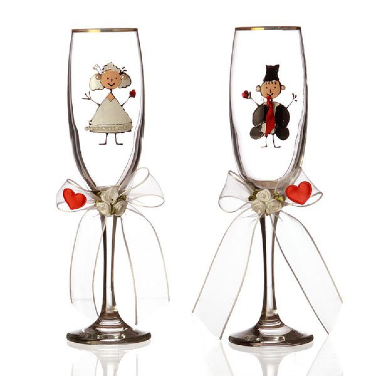 Как оформить бокалы для свадьбы своими руками