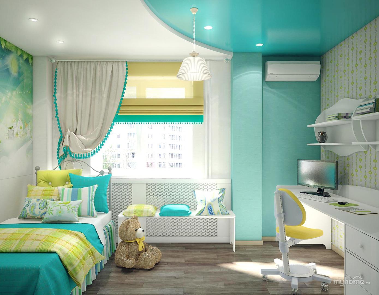 Дизайн комнаты с бирюзовым потолком 8