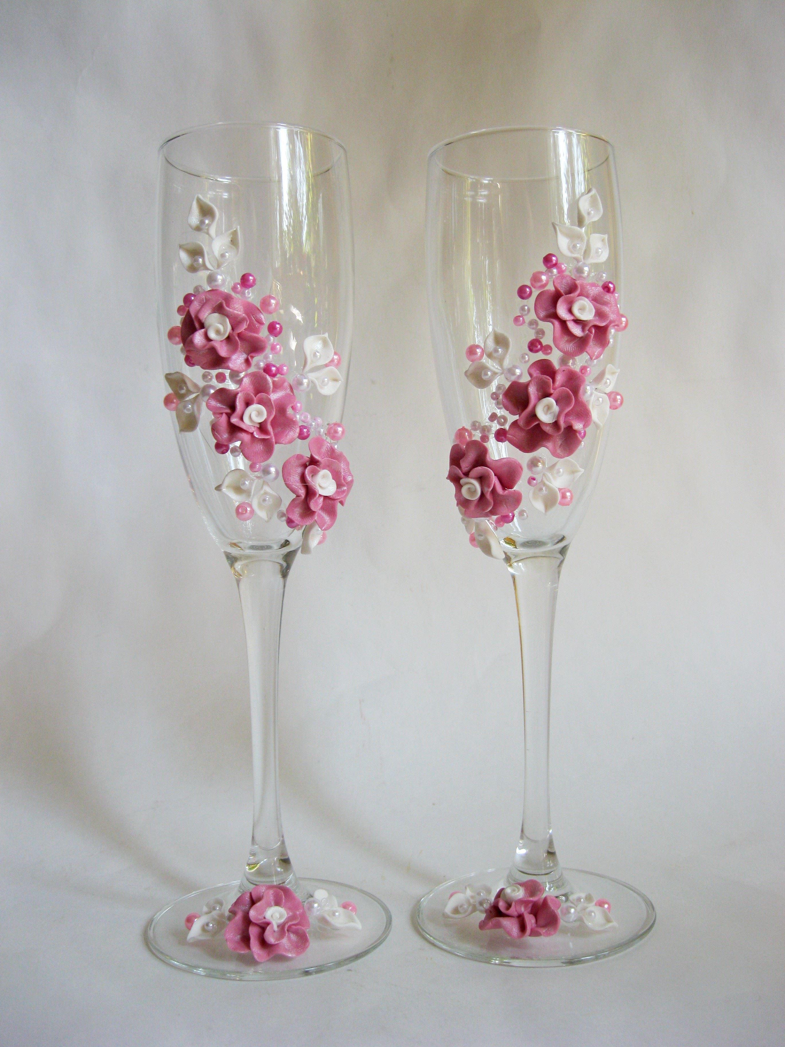 Украшения для свадебных бокалов своими руками