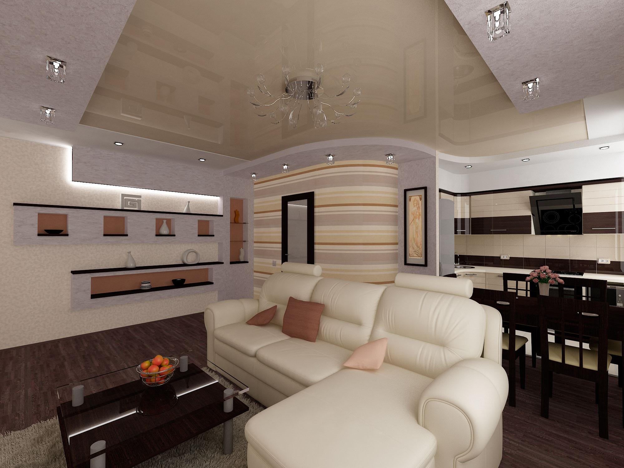 Кухня-гостиная дизайн фото 18 кв.м с диваном
