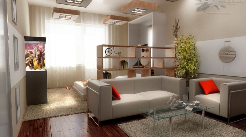 Ремонт зала с перегородкой