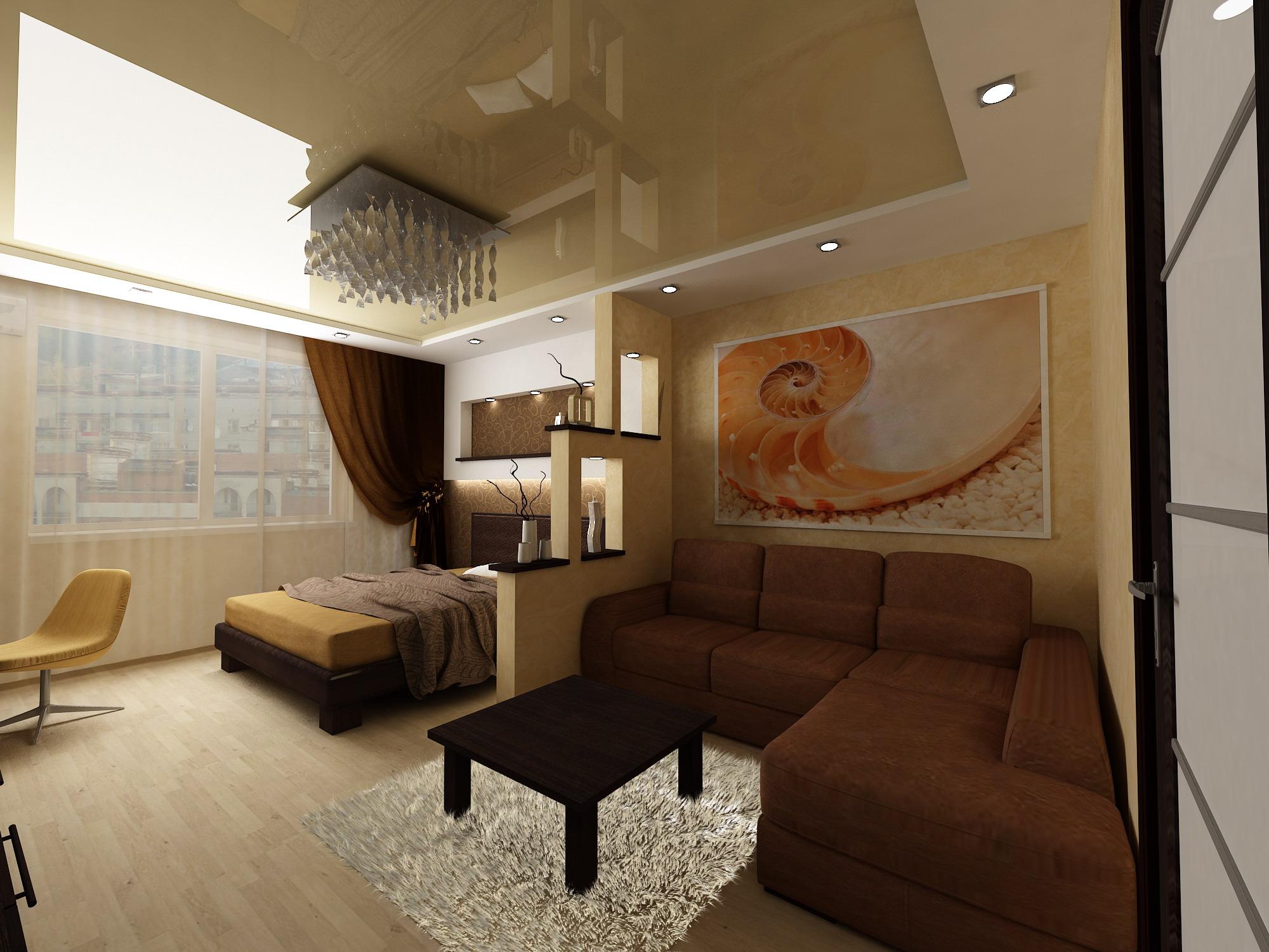 Дизайн гостиной спальни 20 кв м фото