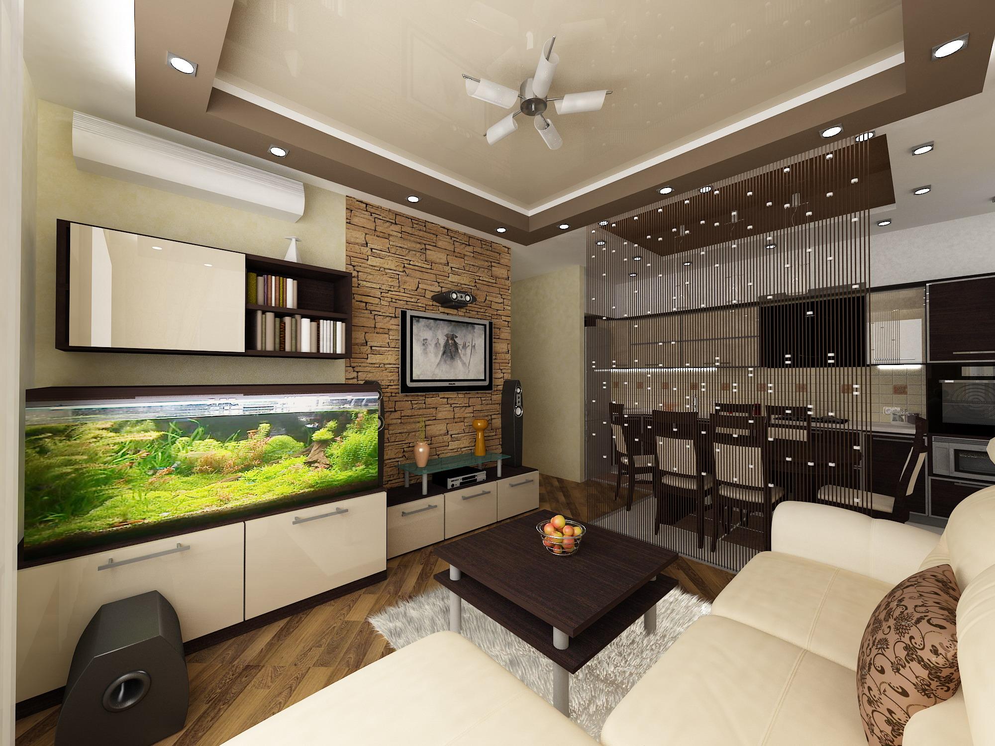 Дизайн гостиная-кухня 23 кв.м.
