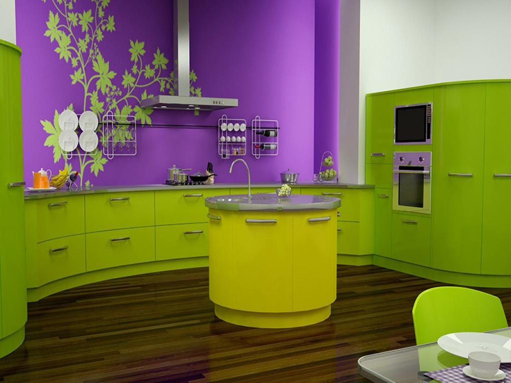 сочетание цвета кухни и обоев фото