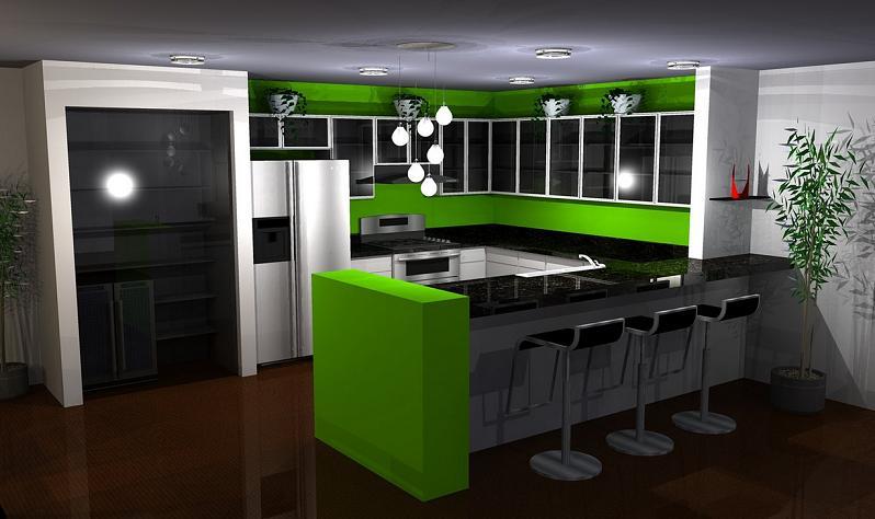 Салатово черная кухня