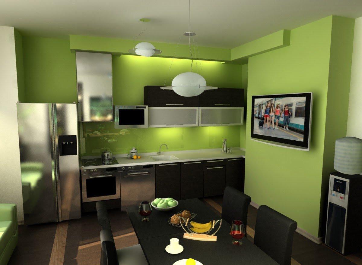 Сочетание цветов стен на кухне дизайн
