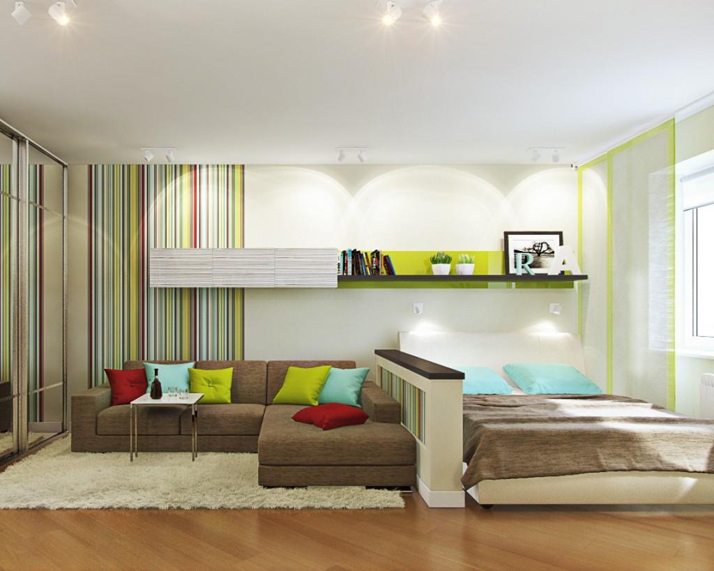 Дизайн зала с кроватью и диваном фото