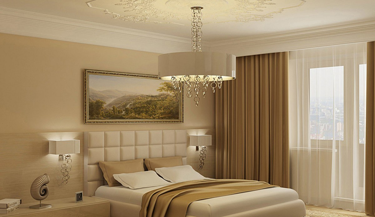 Интерьер спальни в светло коричневых тонах