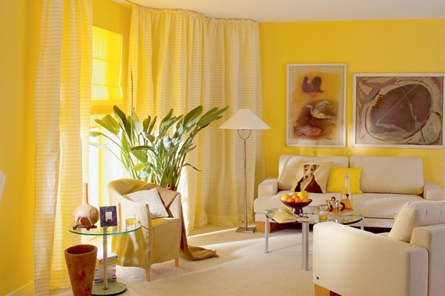Сочетание желтых обоев в интерьере фото
