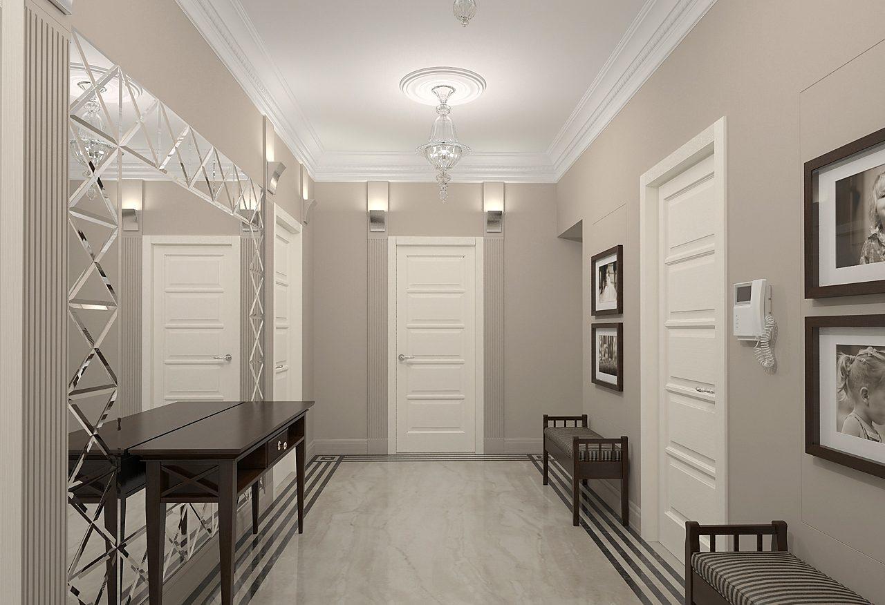 Интерьер прихожей с белыми дверями в квартире фото