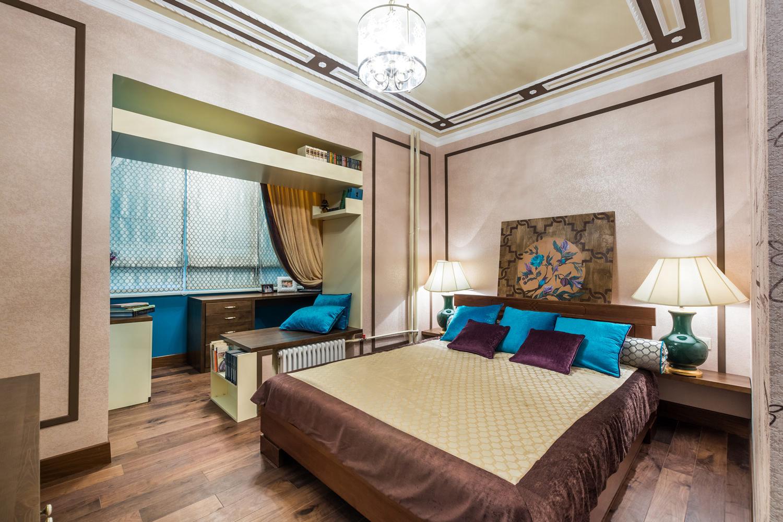 Дизайн спальни 16 квм с балконом