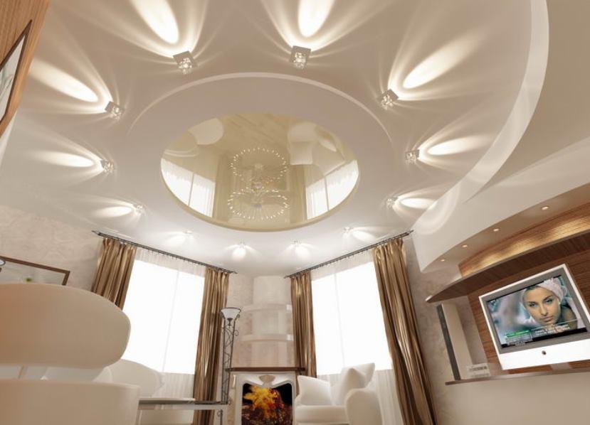 Дизайн отделки потолков в зале фото